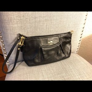 Coach Black Leather Clutch - Gold Hardware